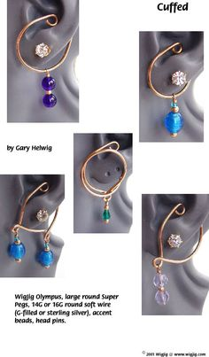 Instructions for making Wire and Beads Ear Cuffs using jewelry wire, beads, common jewelry supplies and WigJig jewelry tools. Diy Jewelry Findings, Jewelry Tools, Wire Jewelry, Jewelry Supplies, Jewelery, Jewelry Making, Jewelry Accessories, Jewelry Ideas, Wire Wrapped Earrings
