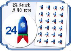 Adventskalenderzahlen -  Zahlen Adventskalender Rakete - ein Designerstück von jasuki bei DaWanda