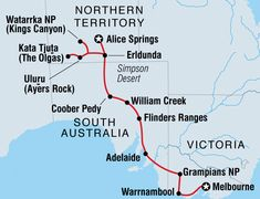 Map of Melbourne to Alice Springs Overland (Basix) Australia Tours, South Australia, Ayers Rock, Alice Springs, Small Group Tours, Winding Road, Melbourne, Road Trip, Map