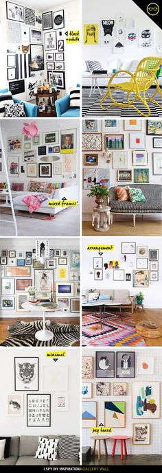 INSPIRATION | Gallery Wall - I like the second picture down on the right.  good mix of the kind of art I like - angles, bowl of flowers, city watercolor, etc