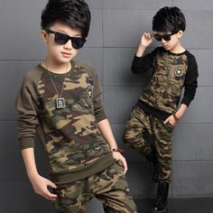 Camouflage Kids Clothes Autumn 2016 Long Sleeve Boys Clothing Set Two Piece Top + Toursers Cotton Boys Casual Sport Tracksuit