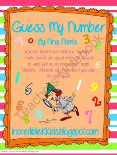 Guessing Giveaway - Great way to activate your learner's higher level thinking skills on number sense.  Enter today and check out my other products too!!!Nina @ IncredibleKKids.blogspot.com.  A GIVEAWAY promotion for Guess My Number from IncredibleKKids on TeachersNotebook.com (ends on 4-21-2014)
