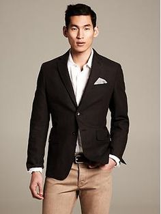 Heritage Brown Linen/Cotton Blazer | Banana Republic