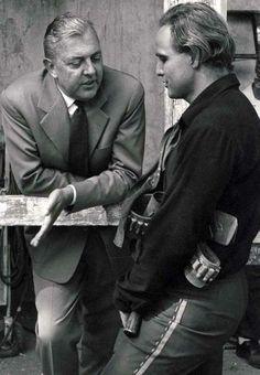 Jacques Tati & Marlon Brando on the set of One Eyed Jack - La vengeance aux 2 visages