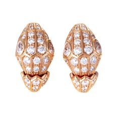 Bulgari Serpenti 18 Karat Rose Gold Pave Diamond Earrings For Sale Snake Earrings, Pearl Stud Earrings, Diamond Earrings, Bulgari Jewelry, Jewelery, 18k Rose Gold, 18k Gold, Reptiles, Antique Earrings