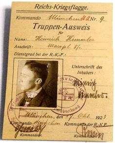 """Heinrich Himmler's """"troop"""" membership identification card in the Reichs-Kriegsflagge (""""Reich Battle Flag"""") Society, a private paramilitary army composed primarily of World War I veterans and led by Captain Ernst Röhm, dated October 17, 1923. As a member of a reserve battalion during World War I, Himmler did not see active service."""