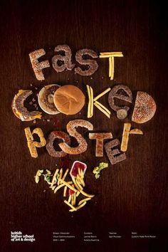 Roundup of 30 Inspiring Typography Designs Photo--- I like how the words are made of food, Whatever my theme is I could do words made out of it