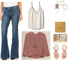 """Ask CF: How Do I Make Flared and Bootcut Jeans Look Fashion-Forward?"" Outfit #4 featuring medium-wash flared jeans, off-white v-neck camisole, dusty pink tie-front long-sleeved blouse, dusty mauve Essie Gel Couture Color nail polish in ""Take Me to Thread,"" small gold hoop earrings, gold bracelet with clear crystal ring, gold necklace with three sparkly silver beads, gold croc-embosssed envelope clutch, block-heeled ankle-strap sandals with knotted front straps"