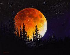Bob Ross Painting - Ettenmoors Moon by C Steele . Bob Ross Painting - Ettenmoors Moon by C Steele More. Art Inspo, Kunst Inspo, Moon Painting, Painting & Drawing, Moonlight Painting, Nature Drawing, Drawing Drawing, Peintures Bob Ross, Bob Ross Paintings