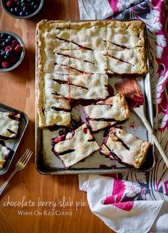 Chocolate Berry Slab Pie for your next party | @whiteonrice