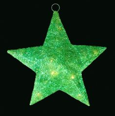 "16"" Lighted Green Sisal Hanging Christmas Star Yard Art or Window Decoration"