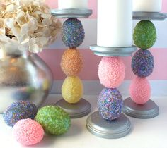 Step by step instructions on making a beautiful Easter Egg Candle Holder using materials found at any local craft store.