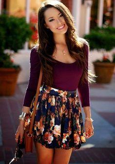 Blue Floral Pleated High Waisted Skirt
