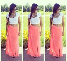#springoutfits #coral #skirt #white #shirt