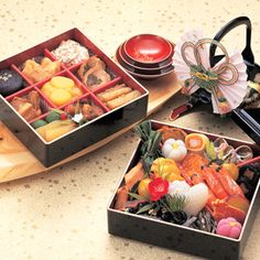 """Japanese """"Oshogatsu"""" Osechi are special side dishes to be eaten during the first three days of the New Year. There are some regional differences but osechi contents are essentially the same everywhere. Those contents are respectively charged with wishes: sea bream (tai) is """"auspicious""""(medetai), herring roe (kazu no ko) indicates """"prosperity for one's descendants"""", and sea tangle roll (kobu maki) means """"happiness""""(yorokobu)."""