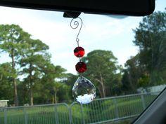 Crystal Car Ornament Red Rear View Mirror By Weddingbridaldecor
