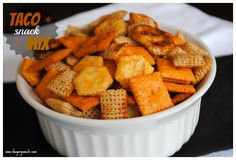 Taco Snack Mix - 4 c. each of Chex cereal, Oyster crackers, cheese crackers, pretzels (mini); 2/3 c. Canola Oil, 3/4 c. Taco Seasoning. Mix cereals together in a large, doubled paper bag. Mix taco seasoning and oil in a bowl and pour over cereals. Shake about 20 times and let set until all oil is absorbed (Bottom of the bag will be greasy)