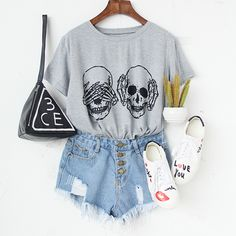 Lighten your mood with a funny print T-shirt #grey #skull #funnytee #outfits #streetstyle