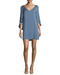 TCD4T Milly Split-Sleeve Silk Crepe Dress, Steel Blue
