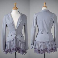 Womens blue gray repurposed jersey blazer jacket XS