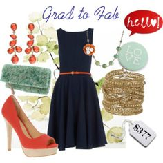 Navy, light blue, and coral.  Perfect.