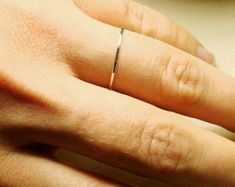 Delicate 10k Gold Stack Ring  Solid 10k White or by MARYJOHN