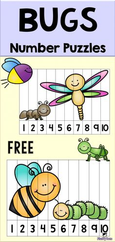 Bugs Number Puzzle : FREE 7 Exciting Puzzles (With images) Learning Numbers Preschool, Preschool Bug Theme, Preschool Puzzles, Maths Puzzles, Preschool Printables, Kids Learning, Prek Learning Games, Number Games For Kindergarten, Welcome To Preschool