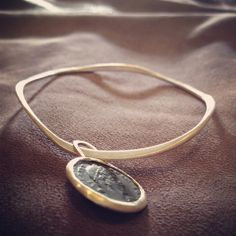 sterling wave bangle with roman coin