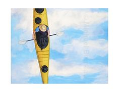 Items similar to Paddler in yellow kayak in blue sky/water. Wayfinder Original oil painting on Etsy Mirror Box, Hologram, Kayaking, Original Paintings, Sky, In This Moment, The Originals, Yellow, Canvas