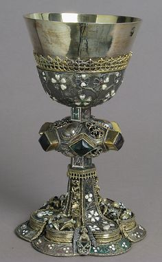 Chalice 15th century  Central European  Silver,gilded silver,glass,semi-precious stones and basse taille enamel