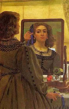 Edward John Poynter, English Classicist painter 1836-1919. The Bunch of Blue Ribbons1862