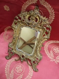 Delicious Antique French ormolu boudoir vanity mirror style Rocaille