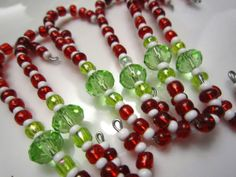 beaded christmas ornaments | Beaded Ornament Hangers in Red, White and Lime Green