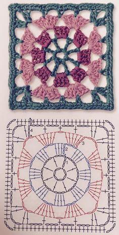 Transcendent Crochet a Solid Granny Square Ideas. Inconceivable Crochet a Solid Granny Square Ideas. Crochet Shawl Diagram, Crochet Motifs, Granny Square Crochet Pattern, Crochet Mandala, Crochet Stitches Patterns, Crochet Chart, Crochet Squares, Knitting Patterns, Knit Crochet