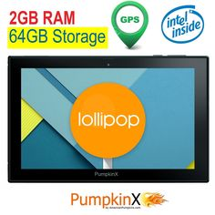 10.1 inch [2GB RAM] 64GB Android 5.1 Lollipop [Intel QUAD CORE] Tablet-GPS, IPS 1280x800 Display, HDMI, Bluetooth 4.0, full-size USB, WiFi, Play Store-American Pumpkins - New Tablets And Tablet Accessories