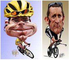 2012 Tour de France: Cadel Evans and Bradley Wiggins Caricature Art by Murray Webb | www.cyclingfans.com