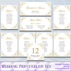 Wedding Seating Chart Template  Download Instantly  Edit