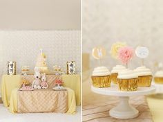 white rosette backdrop, double tiered tables (1 is baby height), dol towers http://www.yophotography.com/joys-1st-birthday/