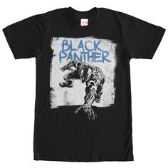 """Black Panther is a master tracker and he's on the trail of the Marvel Black Panther Paint Print Black T-Shirt! Black Panther practically crawls right off this black Marvel shirt with """"Black Panther"""" a"""