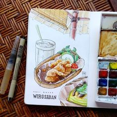 Seasoned rice dish with fried chicken, vegetables, and sambal. That rice wrapped inside banana leaf Watercolor Food, Watercolor Sketch, Comida India, Menu Book, Map Projects, Food Sketch, Food Painting, Food Drawing, Sketchbook Inspiration