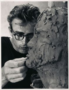 James Dean shot by Sanford H. Roth © ca. 1950. Dean's interest in sculpting lead him to a one time meeting with Kenneth Kendall.  Kenneth was so taken with Jimmy that he memorialized him in many sculptures & paintings.  RIP Kenneth.