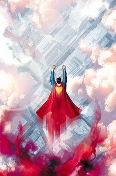 Superman flying over Metropolis Dc Comics Heroes, Dc Comics Characters, Dc Comics Art, Comic Book Heroes, Comic Books Art, Comic Art, Arte Geek, Superman Artwork, Superman Man Of Steel