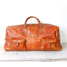 Brown Leather Travel Satchel Bag Large Vintage by salvagelife found on Polyvore