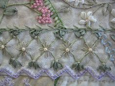 From the Crazy Quilt Stitches book but using ribbon. Beautiful!