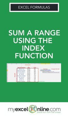 So it will look something like this: =SUM(INDEX(Array, Row_Num, Column_Num)) The Array will be your table of data, the Row_Num will be blank and the Column_Num will be the column number where you want to SUM the values. Learn Excel formulas step by step tutorial from the #MyExcelOnline blog. | Excel Tips #MSExcel #ExcelFormulas #ExcelTips #MicrosoftExcel