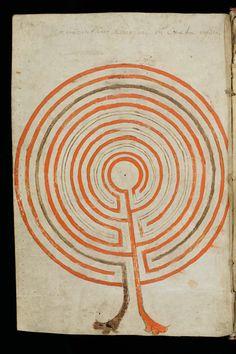 Labyrinth of the Minotaur in Knossos on Crete. Composite manuscript., c. IX - X Century, Cod. Sang. 197, f. 122, St. Gallen, Stiftsbibliothek.