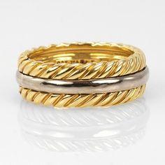 David Yurman Men's   18k White and Yellow Gold Band  Ring