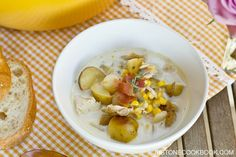 Easy and hearty chicken corn chowder made with rotisserie chicken, baby red potatoes, corn, and garnished with crispy bacon bits.
