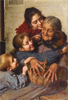 Adorable subject in painting by Gaetano Bellei. He painted many similar, loving pictures of grandmothers and children.
