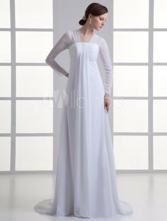 Chic White Chiffon Ruched A-line Long Sleeves Wedding Dress For Bride - $134.99 Milanoo.com